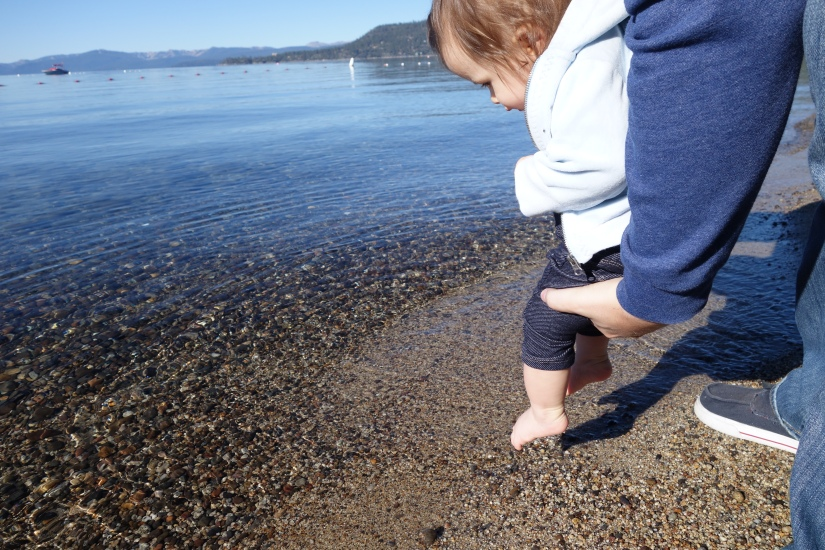 Dad loved dipping her toes in the cold water and her laughter confirmed she did too.
