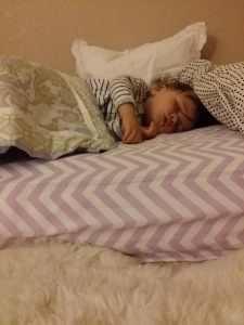 The Montessori bed at work. Don't worry, the big pillow is for me, I move it out of the way.