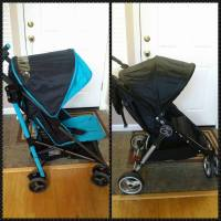 Using the resale sites (and some money we made selling clothes) we turned stroller A into stroller B for a major upgrade!